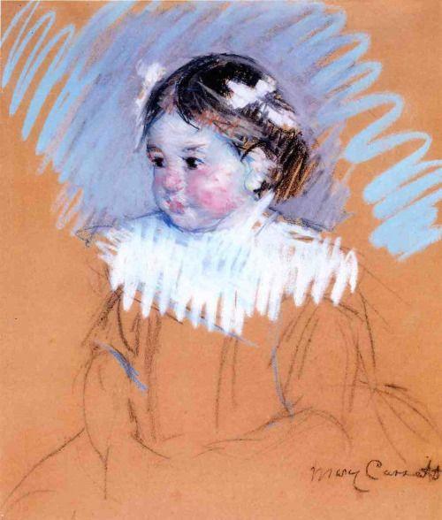 「リボンをつけたエレン」1898年頃メアリー・カサット Mary Cassatt,Bust of Ellen with Bows in Her…
