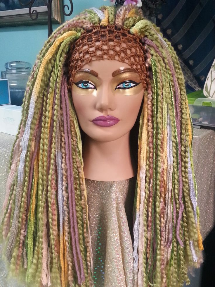 Earth Mother Spring Meadow Fairy Nuetral Tones Long Thick Yarn Wig Headdress Hairfall Tribal Bellydance Cosplay Burlesque