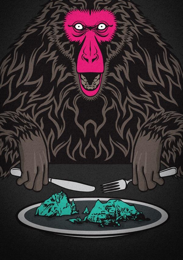 Don't eat Dokdo / Illustration & T-shirt design by Zwang Kim, via Behance