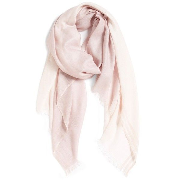 Women's Nordstrom Degrade Cashmere Blend Fringe Scarf (1.308.890 IDR) ❤ liked on Polyvore featuring accessories, scarves, pink combo, nordstrom scarves, fringe scarves, pink shawl, fringe shawl and pink scarves