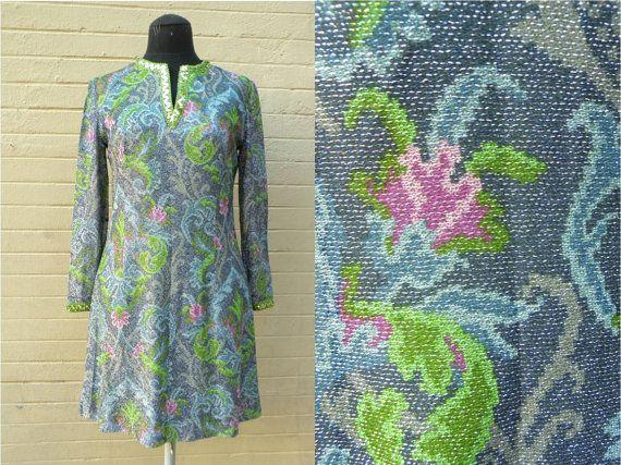 Precioso vestido años 60 en azul verde rosa y por MeAndTheMajor