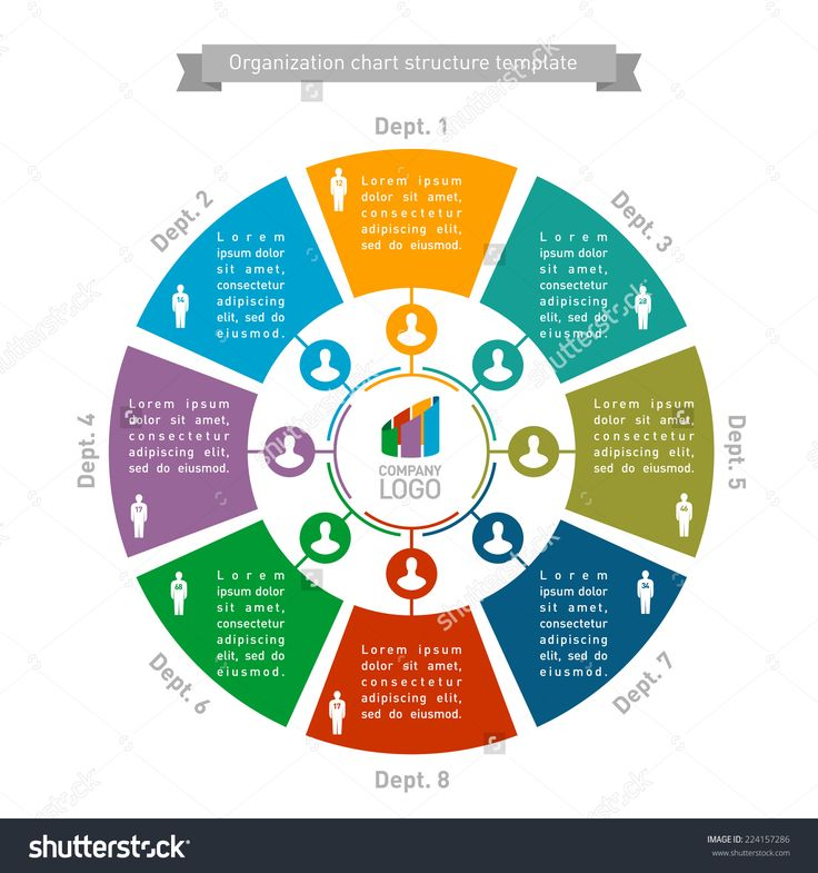 Organizational chart structure template with people count. Round