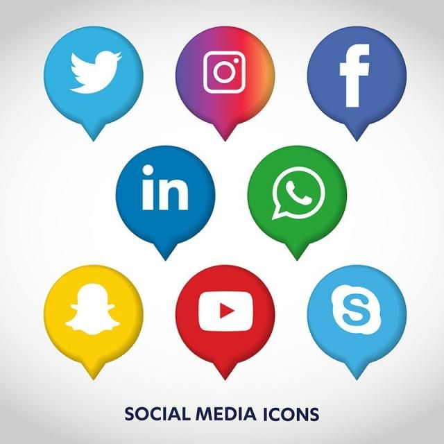 Social Media Icons Set Network Background Share Like Comment