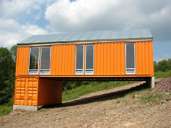 Another good idea for uneven ground make lower level a - Shipping container homes designs ...