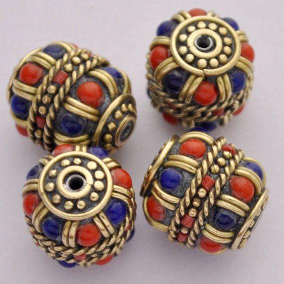 Brass  Handmade Lapis Coral Turquoise Tibetan by JewelryfromNepal
