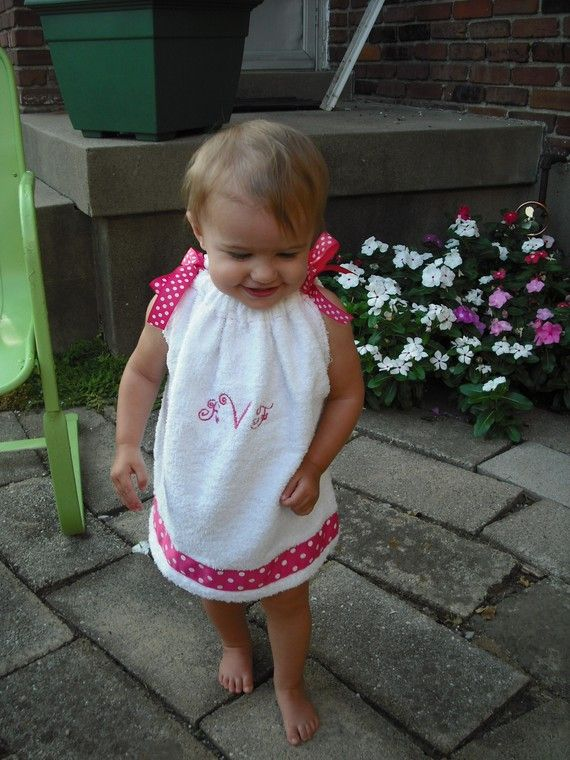 Towel transform into beach cover-up? Hmm...should just be a simple pillowcase dress pattern.