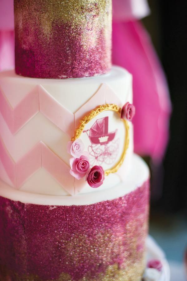 baby shower cake chevron baby showers pink and gold babyshower cake