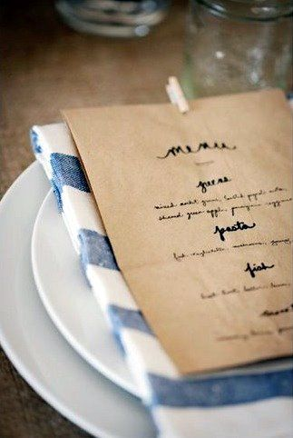 menu and napkin