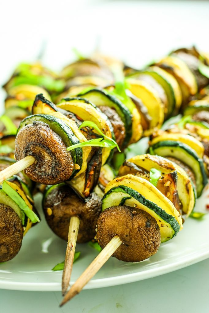 Grilled Ratatouille Kebabs – My favorite vegan skewer recipe! Summer squash and mushrooms and eggplant – SO good!