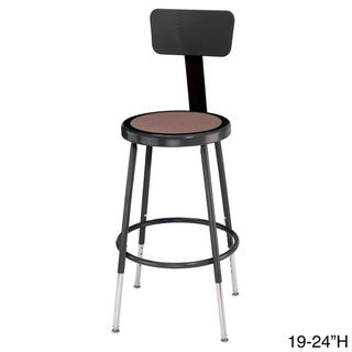 Adjustable Black Stool with Round Hardboard Seat and Backrest | Overstock™ Shopping - The Best Prices on National Public Seating Commercial Stools
