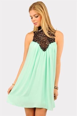 Venetian Crochet Dress - Mint