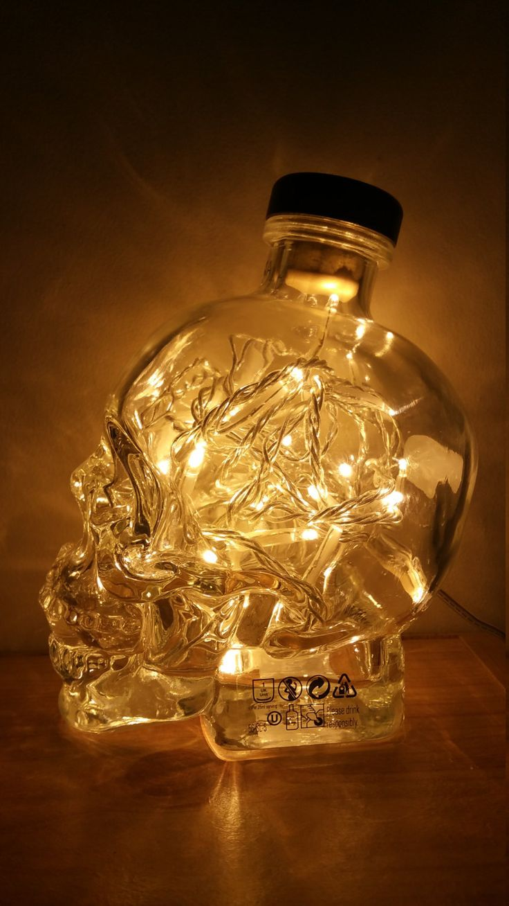 Crystal Head Vodka Bottle High Quality Upcycled by MoonShineLamps