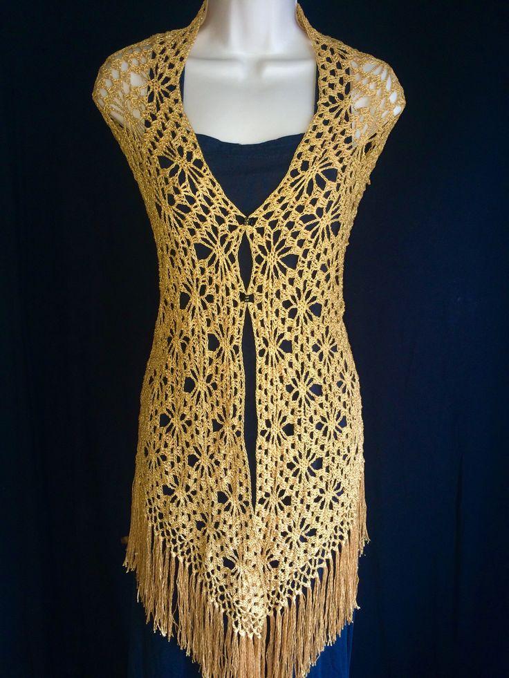 The Bellasara gold shawl is a elegant all handmade crochet