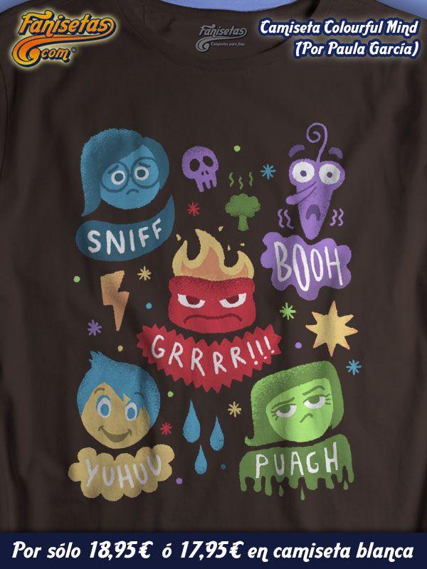 """""""Colourful mind"""" Buenos días y #FelizMartes! ¿De que color o colores tenéis la mente hoy? En #InsideOut nos enseñan que todos los sentimientos son necesarios, incluso la #tristeza, para sentir y ser felices. #Camisetas #Fanisetas #DelRevés #Intensamente #Alegría #Asco #Ira #Miedo http://www.fanisetas.com/camiseta-colourful-mind-p-6070.html"""