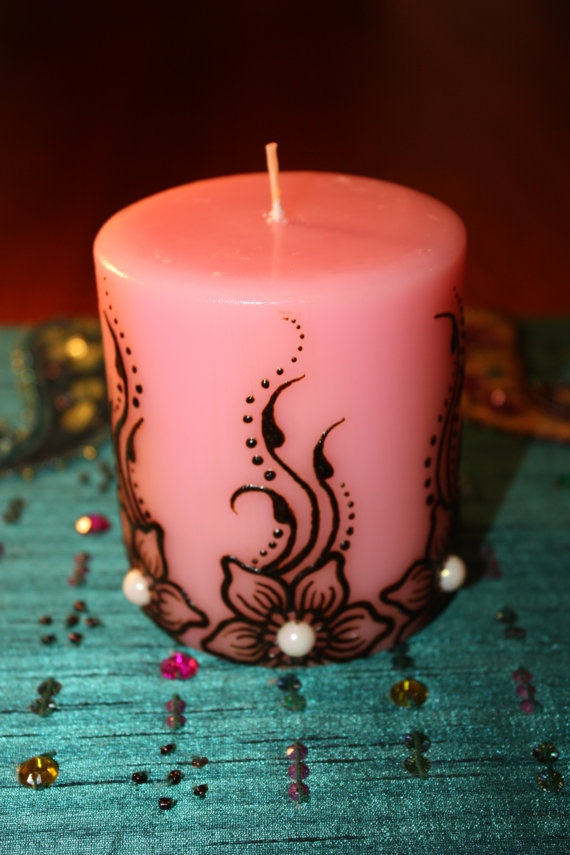 Decoration for Jars ... something like this 3x3 inch pink sweet pea scented Henna Candle by NewWorldHenna, $17.00