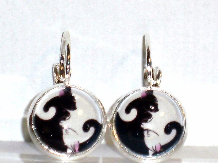 Ohrringe Yin Yang Katze Damen Ohrschmuck Modeschmuck Glas Hänger Metalllegierung