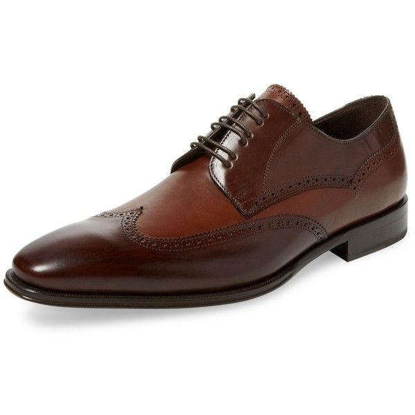 Mezlan Men's Leather Derby Shoe - Brown, Size 10 (13.415 RUB) ❤ liked on Polyvore featuring men's fashion, men's shoes, men's oxfords, brown, mens brown wingtip shoes, mens brown brogues, mens brown brogue shoes and mens wingtip shoes