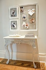"""Picture-Frame Message Center // Mastermind: Stefanie Schiada, who started her blog brooklynlimestone.com to document the improvements she and her husband made to their once-dilapidated rowhouse, in Brooklyn, New York. // Inspiration: """"I had a table in my hallway for dropping mail, but I wanted something on the wall above where I could hang recent invites and announcements."""""""