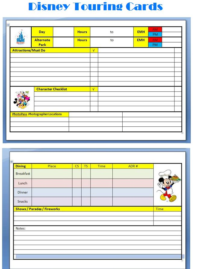 """Daily Disney Planning Cards. I put them onto index cards, pull the one I need for that day & off we go. Has our daughters """"must do"""" attractions, our dining reservations, any special shows that we want to catch, extended magic hours, any special snacks we want to try. Lot easier than carrying loads of loose papers or a guidebook !"""