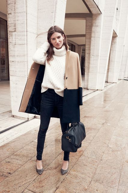 @roressclothes closet ideas #women fashion outfit #clothing style apparel Black and Camel Coat