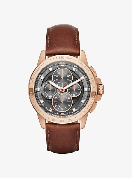 Ryker Rose Gold-Tone And Leather Watch