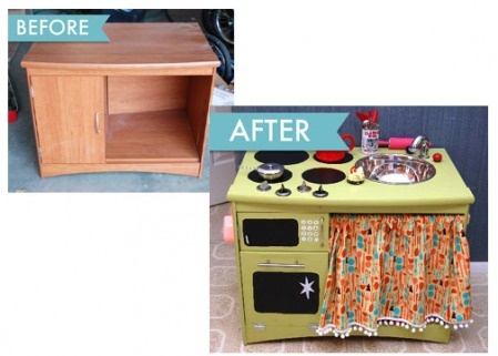 Several examples of junk/yard sale/Craigslist freebie old entertainment stands transformed into kids' kitchen toys.  Great inspiration for the DIY-er... these one-of-a-kind pieces would cost serious money store-bought, and look MUCH nicer than the plastic versions.