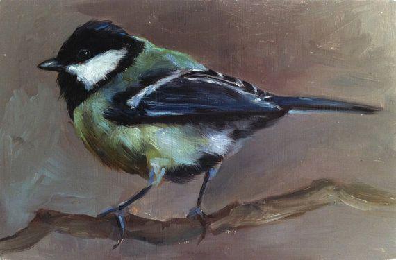 Mésange charbonnière - peinture de l'oiseau - édition Open Print de peinture à l'huile originales