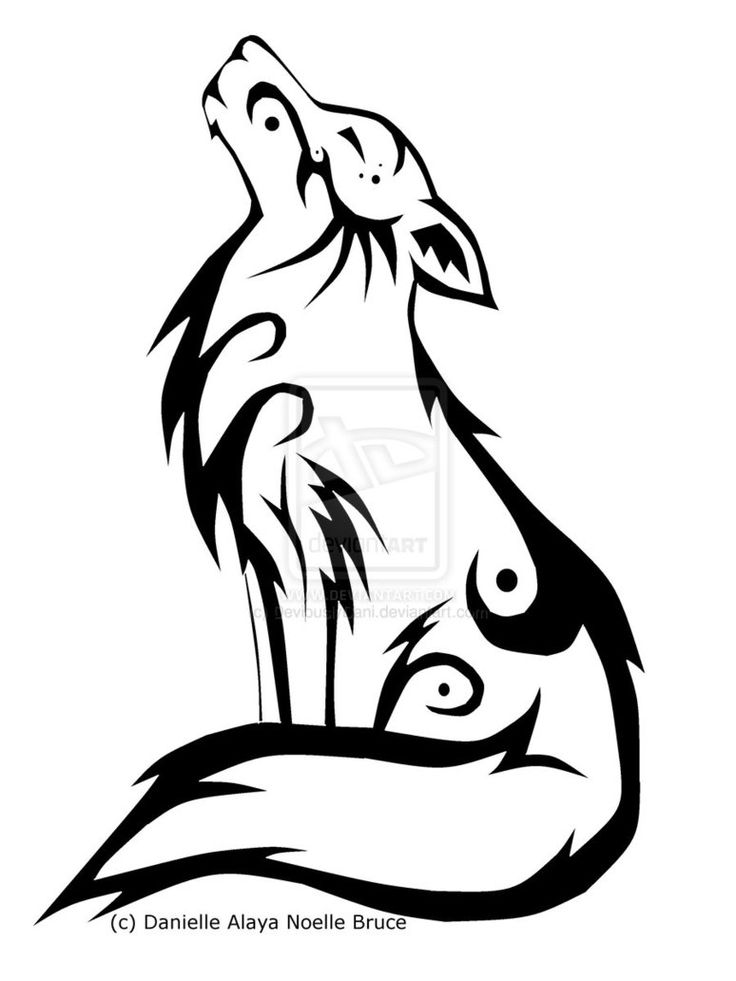 Tribal Howling Wolf by *DeviouslyDani on deviantART I would like this with some watercolor accents added.