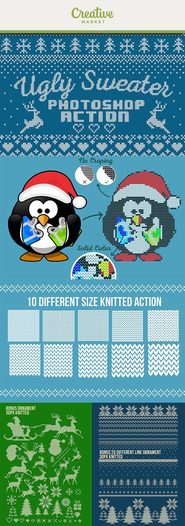 #affiliate in just one click you can change any text, font, Line, shape, image, even Photo become a knitted pattern in few seconds. Christmas photoshop effects, ugly sweater action