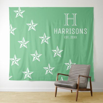 Sea Green Nautical Stars Personalized Family Name Tapestry - elegant gifts gift ideas custom presents