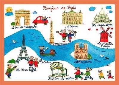 a604 / 653 75 - PARIS Monique GAURIAU Carte géographique