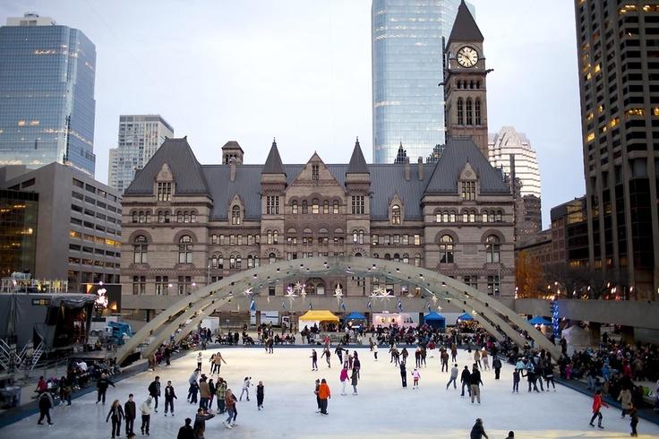 Skating at Nathan Phillips Square in Toronto, Ontario