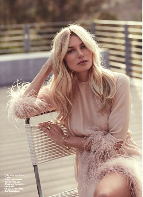 Jessica Hart wearing Fur & Claw for l'Officel Switxerland ~ gold bracelets, gold rings, layering jewellerys