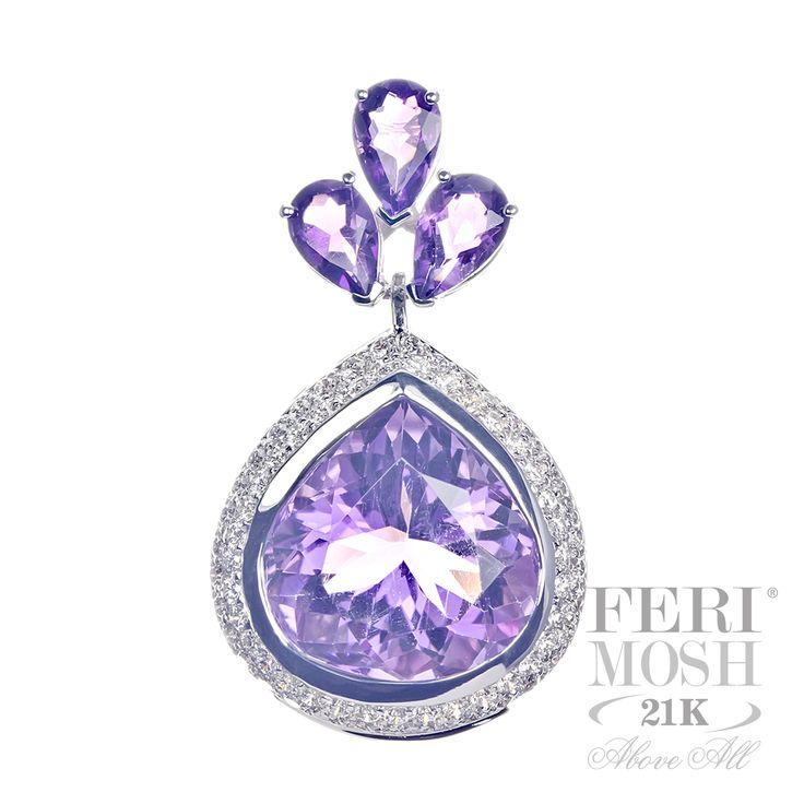 FERI MOSH Oscar Pendant - 21K White Gold with pear shaped Amethyst gemstone.  $8,663.00 #jewelry #pendant