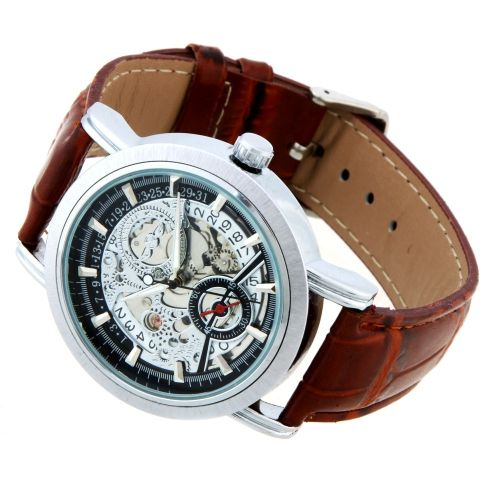 WINNER Automatic Mechanical Watch Skeleton Dial Transparent Stainless Steel Case Fashion Wristwatch