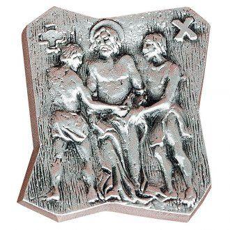 Vía Crucis 14 estaciones 13 x 11 cm latón plateado | venta online en HOLYART