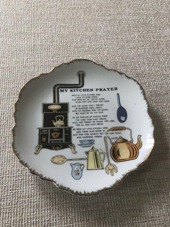 Vintage Ceramic Decorative Wall Plate Kitchen Prayer Stove