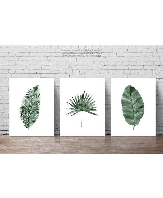 Canvas Palm Leaf Illustration Palm Leaves Set Of 3 Art Prints