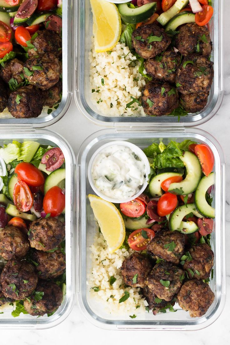 These meal prep Whole30 Greek Lamb Meatball Bowls are packed with protein, veggies, and healthy fats, AND a homemade tzatziki sauce for dipping! An easy and healthy meal to help keep you on track and makes great for meal prep throughout the week. - Eat the Gains #mealprep #glutenfree #paleo #whole30