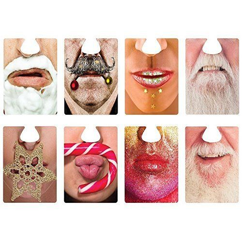 Our famous face mats coming to you with new fun Christmas faces. A great way to have fun and break the ice at parties, this set of double sided Face Mats are a