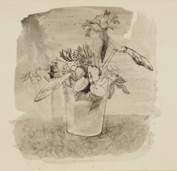 Flowers (1930) by Christopher Wood. Wash, pen and ink on paper, Kettles Yard.