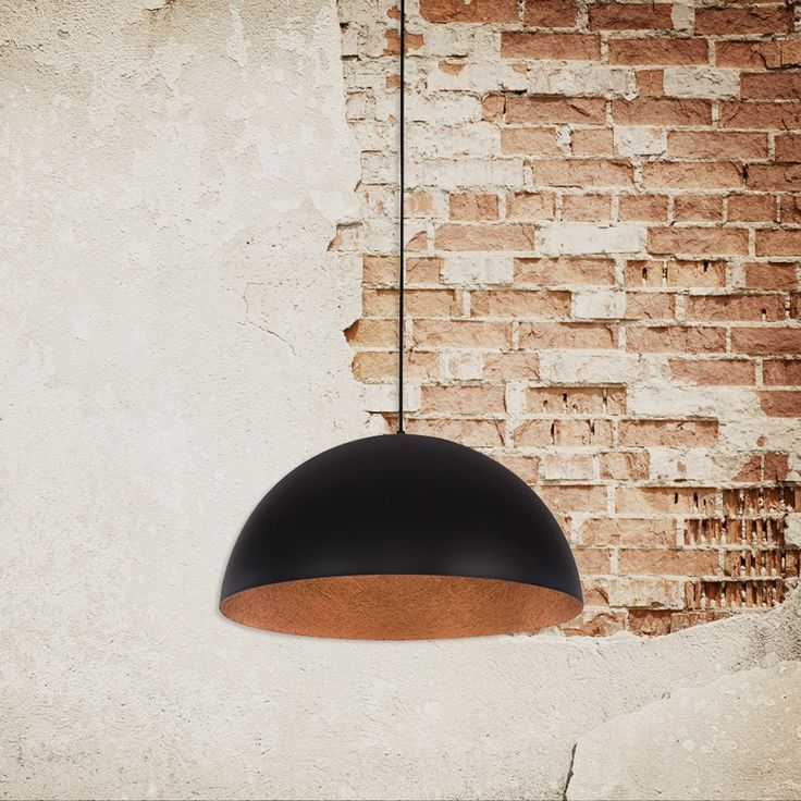 Industrial Rondure Ceiling Pendant Light – Black and Copper
