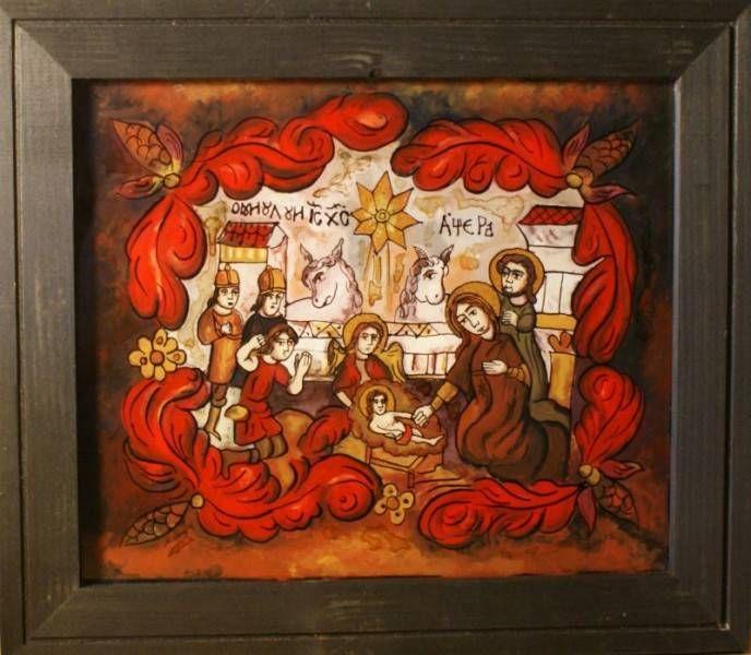 Icoana traditionala romaneasca, Nasterea Mantuitorului, de Craciun, pictura pe sticla