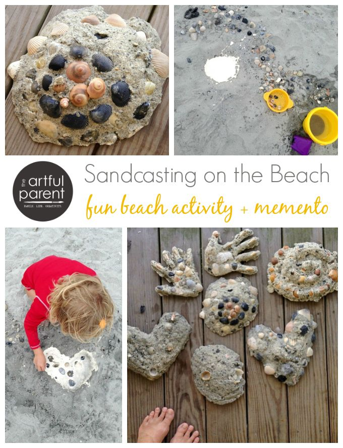 Ocean Crafts for Kids :: Sandcasting on the Beach - Love the hearts and hands!