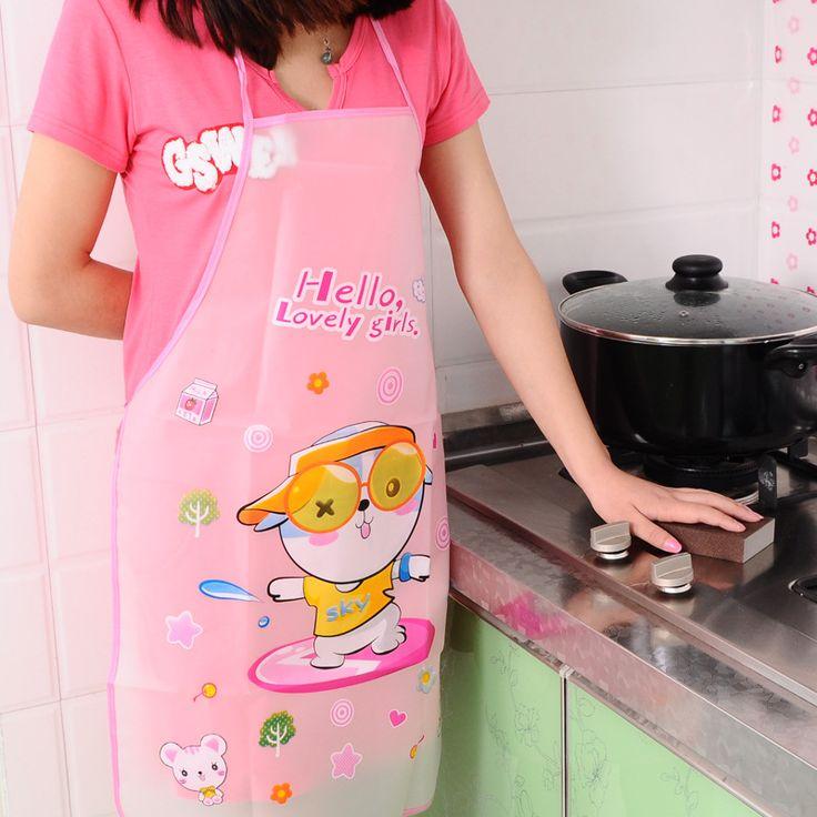 New Cartoon Waterproof Kitchen Apron Women Kids Novelty Aprons Baking Accessories #Affiliate