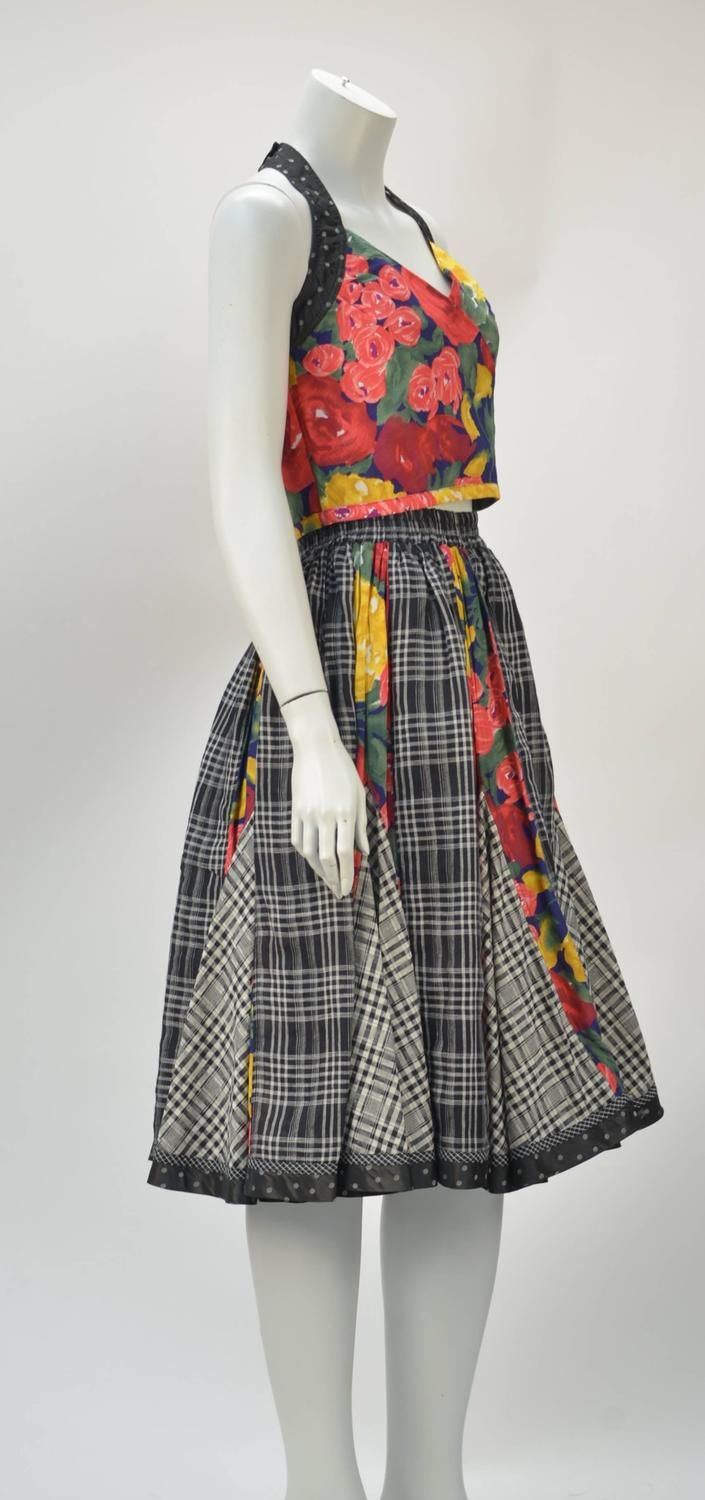 1980s Koos van den Akker Floral Plaid Ensemble For Sale at 1stdibs