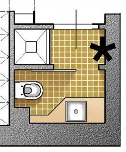 Poiché il bagno esistente è stato reso accessibile dalla camera, è meglio aggiungerne un altro con ingresso non così vincolato ma diretto dal corridoio. Si sfrutta allora il ripostiglio (che è adiacente la camera singola), trasformato in secondo servizio. Un nuovo vano per contenere è ricavato all'entrata della casa