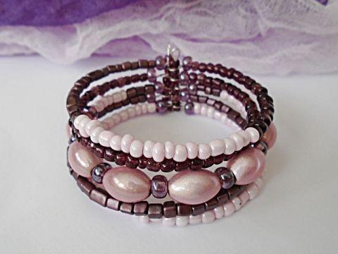 Lila-rózsaszín memóriadrótos karkötő bracelet, bead