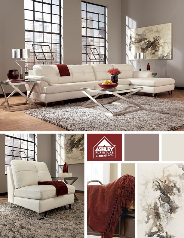 try a modern white sectional with a burst of color