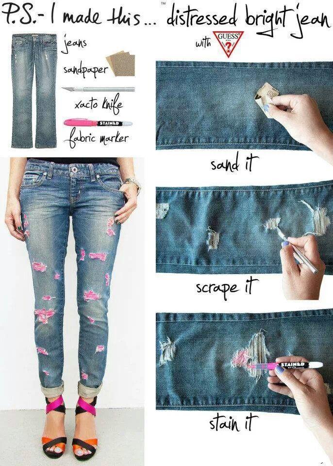 Diy distressed jeans | Fashion | Pinterest